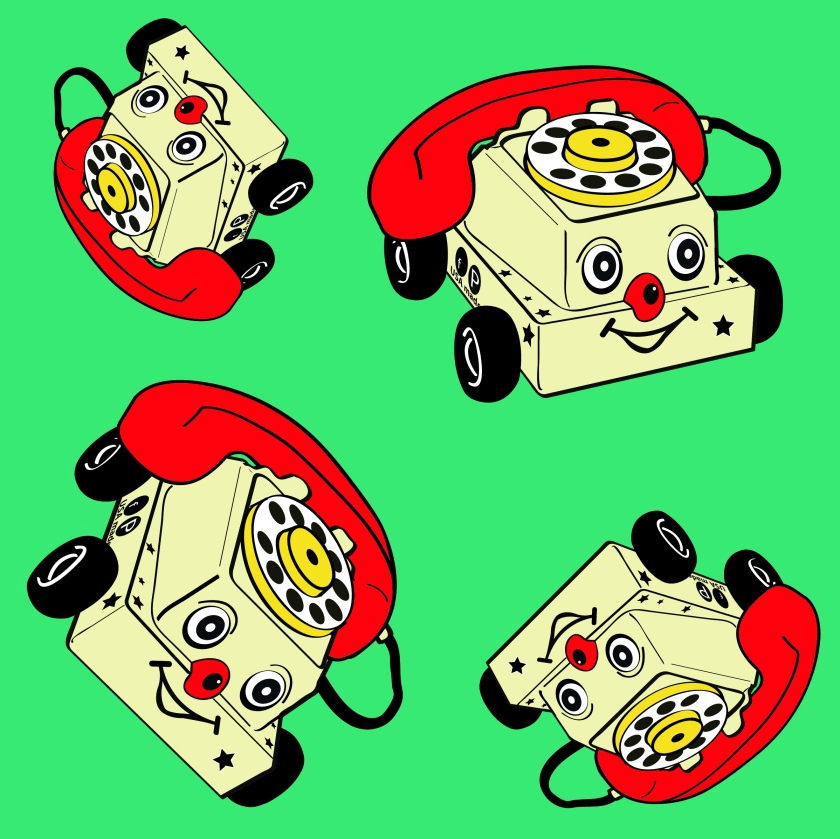 toy phone green background