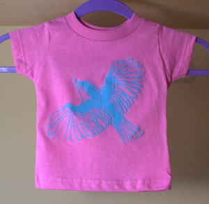 Cute birdie on a kids Pink T shirt