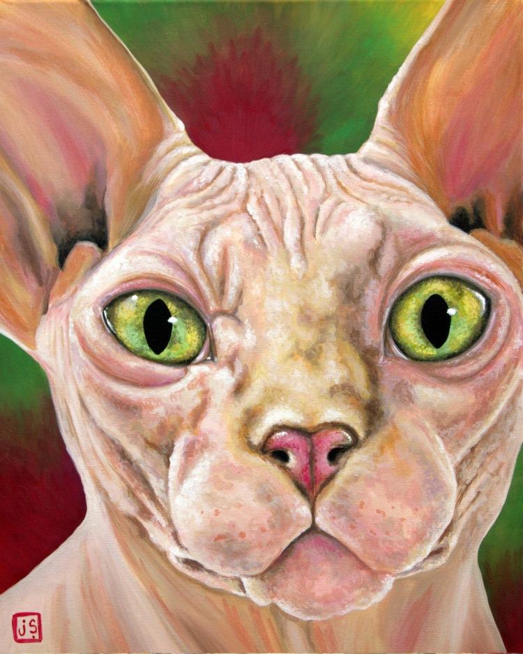 Boris the Sphynx 16x20 canvas