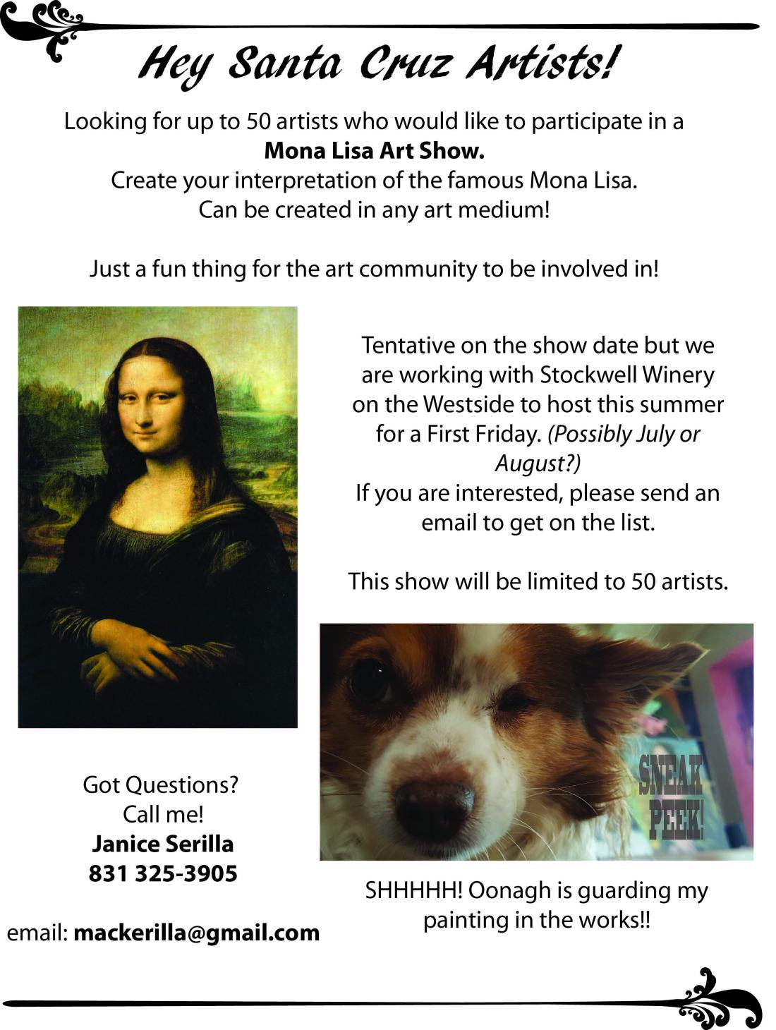Mona lisa art show flyer